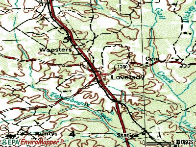Lovelady topographic map