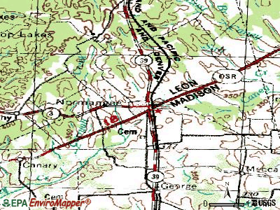 Normangee topographic map