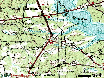 Ore City topographic map