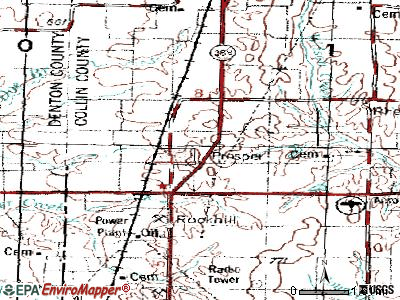 Prosper topographic map