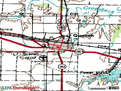 Quanah topographic map