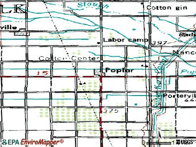 Poplar-Cotton Center topographic map