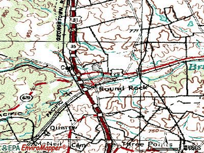 Round Rock topographic map