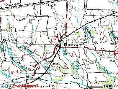 Roxton topographic map