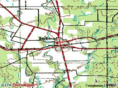 Sabinal topographic map