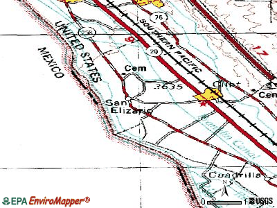 San Elizario topographic map