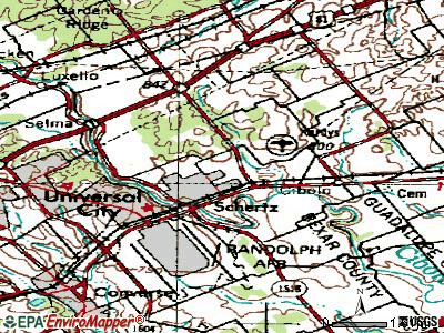 Schertz topographic map