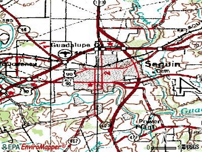 Seguin topographic map