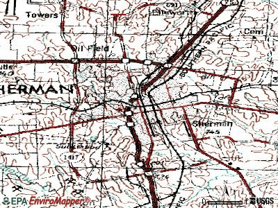 Sherman topographic map
