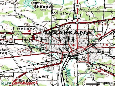 Texarkana topographic map