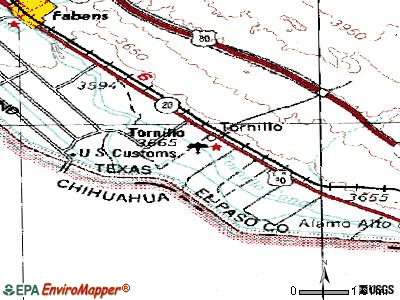 Tornillo topographic map