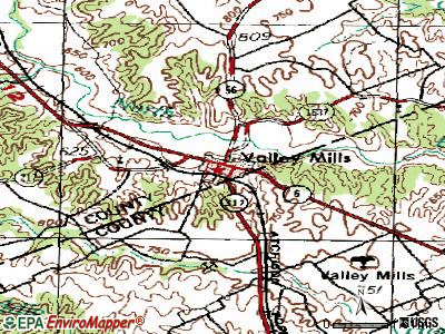 Valley Mills topographic map