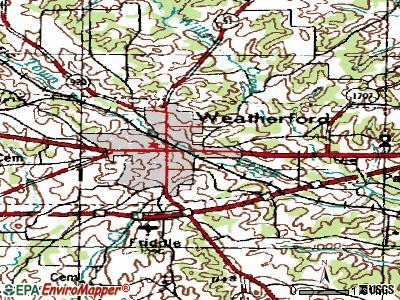 Weatherford topographic map