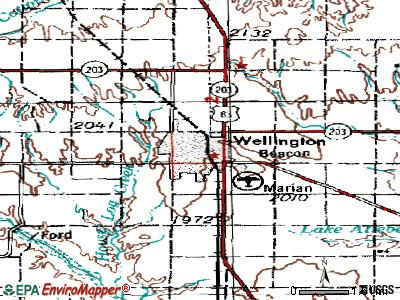 Wellington topographic map