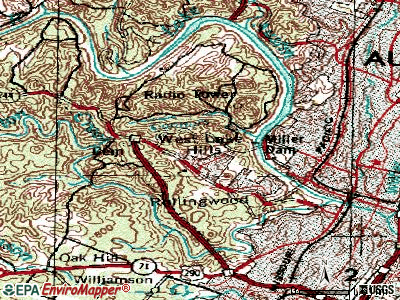 West Lake Hills topographic map