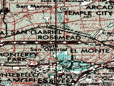 Rosemead topographic map
