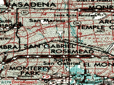 San Gabriel topographic map