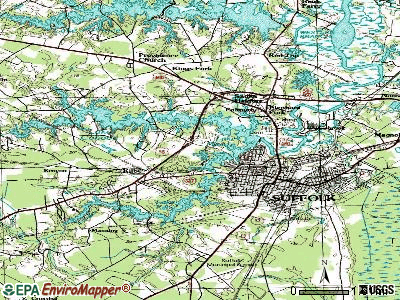 Suffolk topographic map