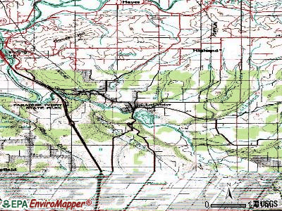 La Center topographic map