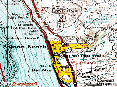 Solana Beach topographic map
