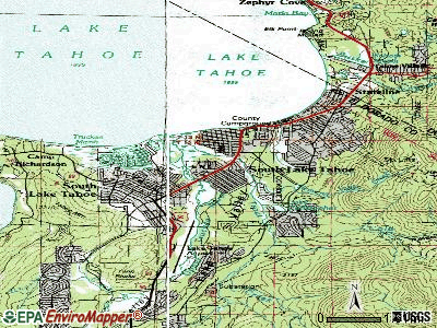 South Lake Tahoe topographic map