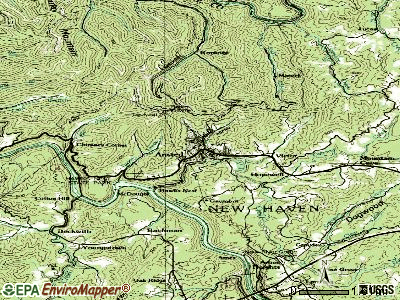 Ansted topographic map