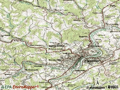 Barrackville topographic map