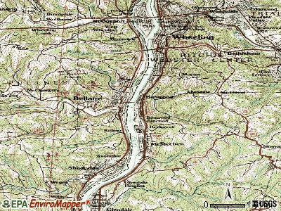 Benwood topographic map