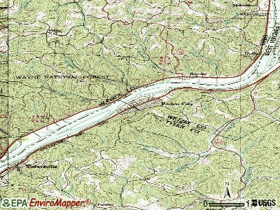 Paden City topographic map