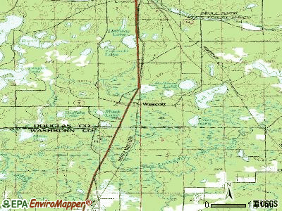 Wascott topographic map