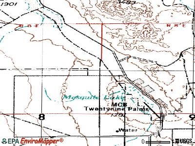 Twentynine Palms Base topographic map