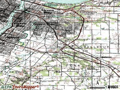 Bellevue Town topographic map