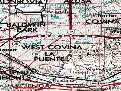 West Covina topographic map
