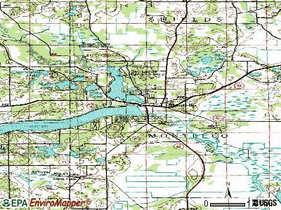 Montello topographic map