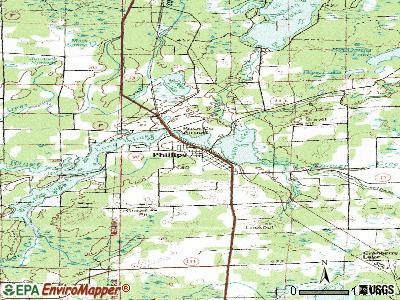 Phillips topographic map