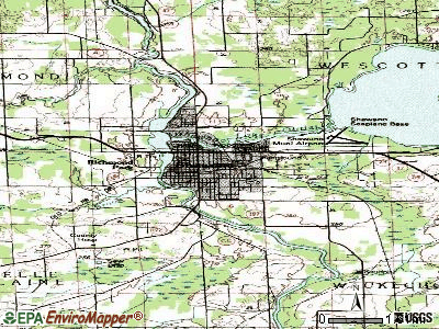 Shawano topographic map