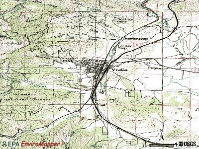 Yreka topographic map