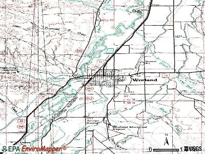 Worland topographic map