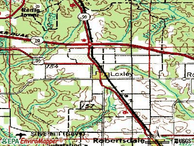 Loxley topographic map