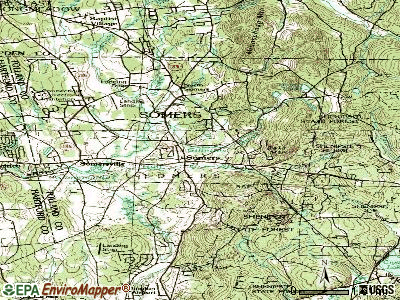 Central Somers topographic map