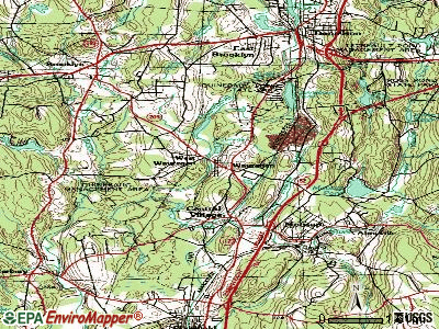 Wauregan topographic map