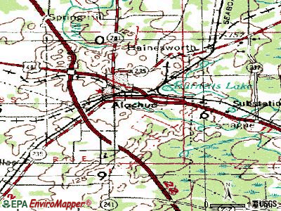 Alachua topographic map