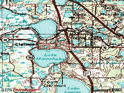 Clermont topographic map