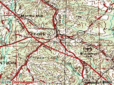 Ozark topographic map
