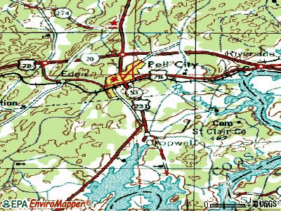 Pell City topographic map