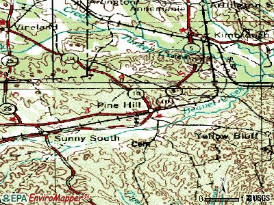 Pine Hill topographic map