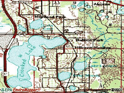 Hillcrest Heights topographic map