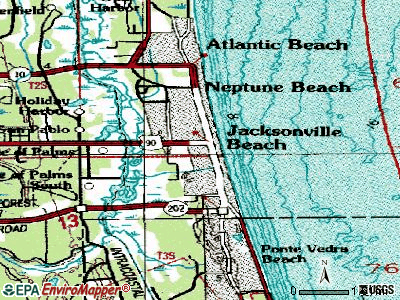 Jacksonville Beach topographic map