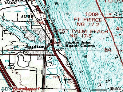 Jupiter Inlet Colony topographic map
