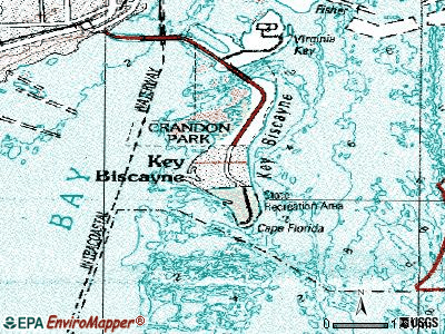 Key Biscayne topographic map